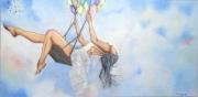 tableau personnages ballon tutu ballerine ciel : Si tu crois un jour que tu m'aimes