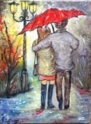 tableau personnages pluie automne couple amoureux parapluie : Sous la pluie