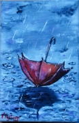 tableau autres parapluie automne pluie rouge : Le parapluie