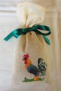art textile mode animaux sac ,a lavande coq broderie sac : Sac à lavande le coq