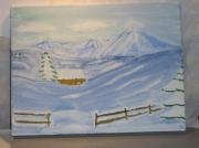 tableau : paysage enneigé