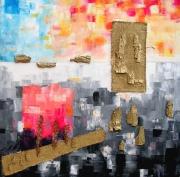tableau abstrait collage bois acrylique peinture : Ensemble vital