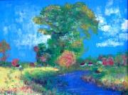tableau paysages paysage impressionisme riviere alsace : Ma rivière