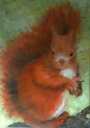 tableau animaux ecureuil gland squirrel oak tastel : Ecureuil