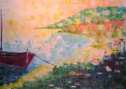tableau marine barque pecheur rouge jaune : Barque de peche