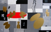 tableau abstrait relations gris or vie : Relations