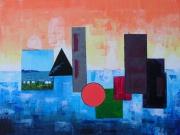 tableau abstrait terre feu orange bleu : Terre de feu