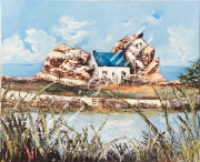 tableau paysages artisteartdecohui vacancesparfumpers paysagefleurproven ameublementferronne : 44  La maison entre les rochers