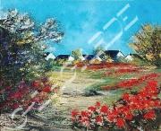 tableau paysages idees cadeauxnoelm ameublementferronne vacancesparfumpers artisteartdecohui : 196  Chemin de coquelicots