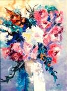 tableau fleurs artdeco expogalerie huilepeinture vacancesparfumfleu : 1  Le vase blanc
