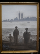 tableau scene de genre tours jumelles reve americain immigres new york : Liberté et rêves 109