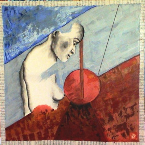 TABLEAU PEINTURE musique nu Personnages Peinture a l'huile  - Bandjo Blues