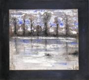 tableau paysages rivage arbres reflets : arbres et eau