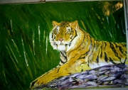 tableau animaux tigre jungle sherkan predateur : sherkan