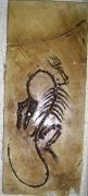 tableau animaux fossile platre : velocirapto