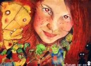 tableau personnages regar rousse visage beaute : regard roux