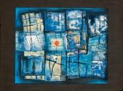 tableau abstrait barreaux mer prison soleil : cayenne