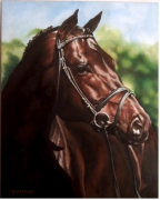 tableau animaux tableau realisme animalier : Le cheval de course