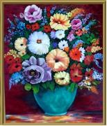 tableau : Bouquet dans vase émeraude