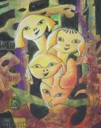 tableau scene de genre fraicheur ludique enfance joyeux : Escuela de parvulos