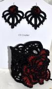 """bijoux autres bijoux piece unique stvalentin glamour : Bracelet et boucles assorties """"Rouge et noir"""""""