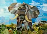 tableau animaux elephant animaux tableau marqueterie : Marqueterie papier