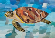tableau animaux tortue animaux tableau marqueterie : Marqueterie papier