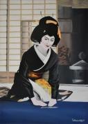 tableau scene de genre japon geisha ceremonie the : Geiko