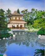 tableau paysages japon paysage temple zen : GinKaku-ji Temple