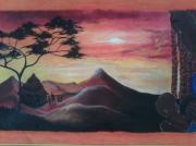 tableau paysages paysage afrique femme enfant : plaine africaine