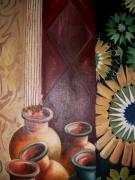 tableau nature morte nature morte jarre tapis : jarra marocaine