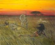 tableau autres afrique humain animaux chasse : la chasse est une attente pour le mâle et la femme