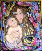 tableau personnages maternite huile sur toile collages en relief : Madona