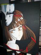tableau personnages manga princesse miyu : Miyu et le masque