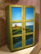 deco design paysages armoire verte paysage marin : Armoire verte peinte à la main