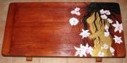 bois marqueterie nus exotisme acajou table chene fleurs : Table exotique