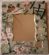 deco design fleurs miroir style japonais collage serviette : Miroir style japonais