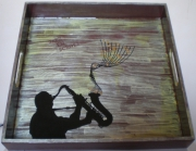 deco design scene de genre jazz note de musique plateau : Plateau Jazz