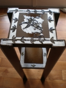 bois marqueterie paysages table de chevet style bambou marron chocolat : Mini table de chevet