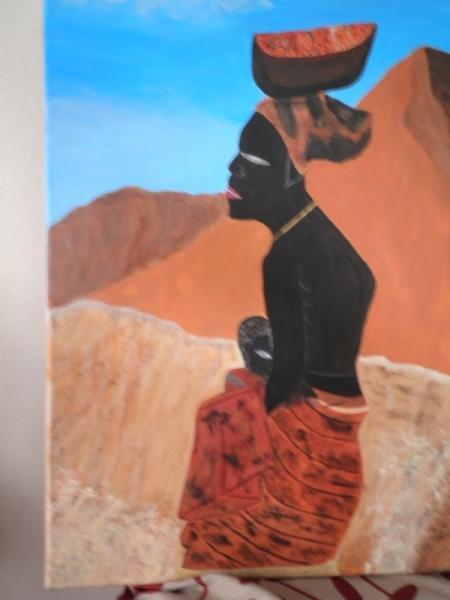 TABLEAU PEINTURE Beauté Afrique Désert Pauvreté Personnages Acrylique  - Femme africaine portant un enfant