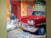tableau personnages voiture taxi cuba havanne : Taxi cubain
