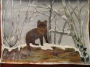 tableau animaux peinture martre peinture animaliere martre en hiver : la martre