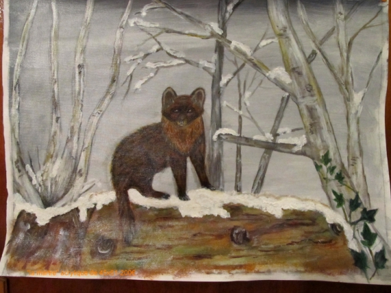 TABLEAU PEINTURE peinture martre peinture animaliere martre en hiver Animaux Acrylique  - la martre