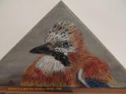 tableau animaux geai des chenes peinture animaliere portrait d oise : prtrait d'un geai des chenes