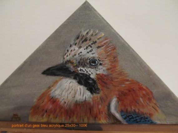 TABLEAU PEINTURE geai des chenes peinture animaliere portrait d'oise Animaux Acrylique  - prtrait d'un geai des chenes