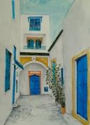 tableau paysages sidi boussaid rue architecture : impasse à sidi bou