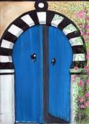 tableau architecture : porte bleu
