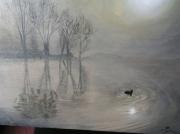 tableau paysages un canard sur l etang : Brumes sur l'étang