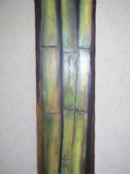 TABLEAU PEINTURE bambou Fleurs Peinture a l'huile  - bambou