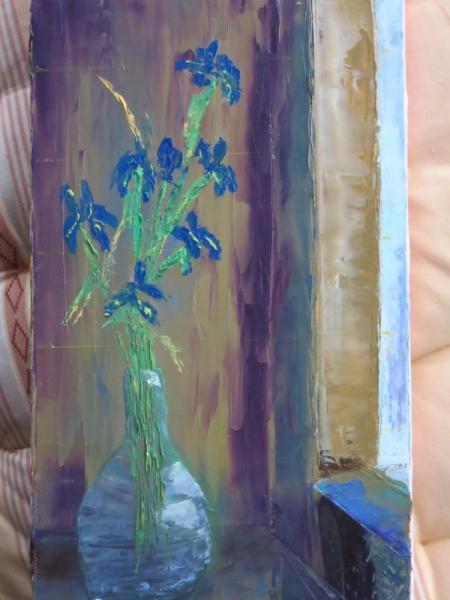 TABLEAU PEINTURE Fleurs Peinture a l'huile  - Bouquet bleu